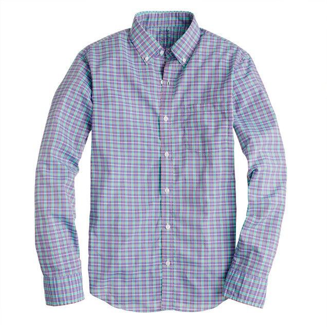 Slim Secret Wash shirt in green plaid