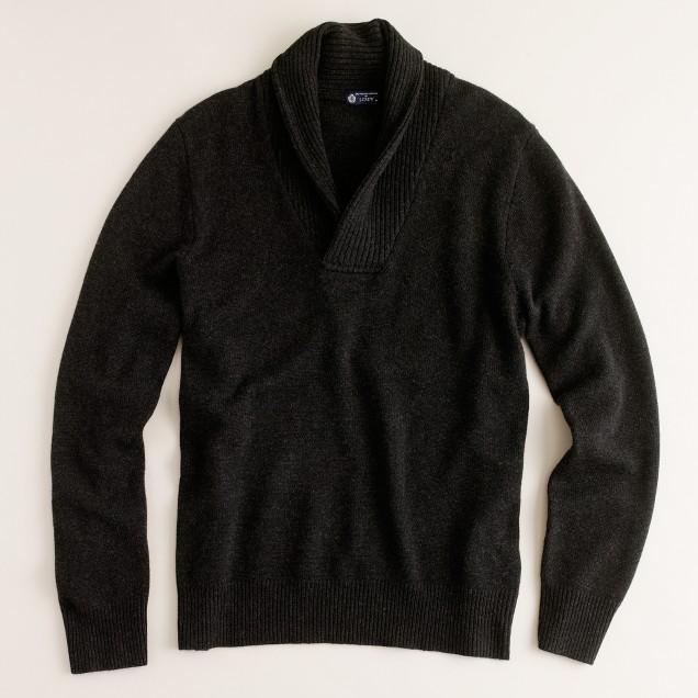 Cashmere rib-shawl pullover