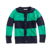 Girls' rugby-stripe cardigan