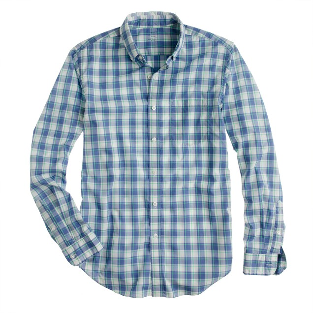 Tall Secret Wash shirt in sea glass check