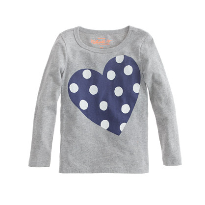 Girls' long-sleeve polka-dot heart tee