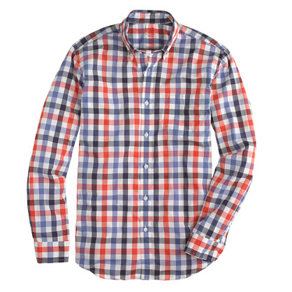 Secret Wash shirt in dark papaya check