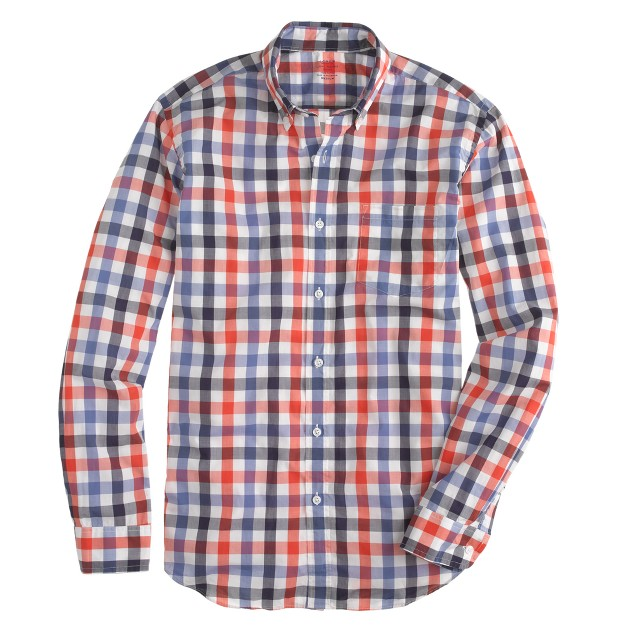 Tall Secret Wash shirt in dark papaya check