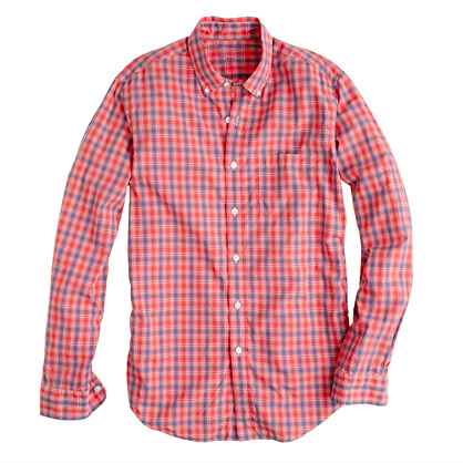 Secret Wash shirt in milan red plaid