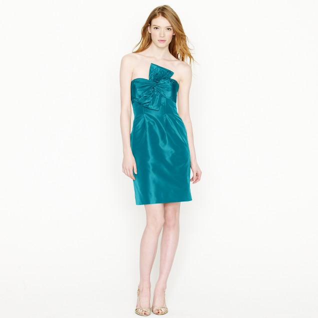 Petite bow monde dress in silk taffeta