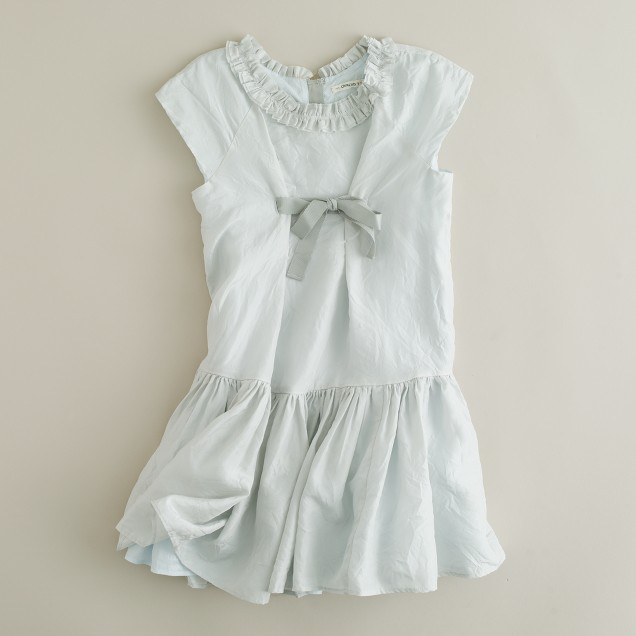 Girls' silk drop-waist dress