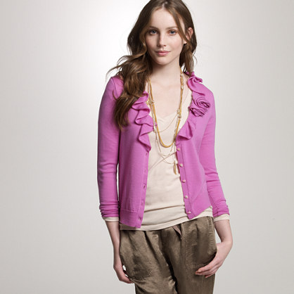 Merino rose corsage cardigan