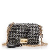 Metallic tweed charmed mini bag