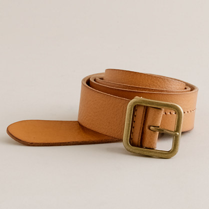 Stitched-leather jeans belt