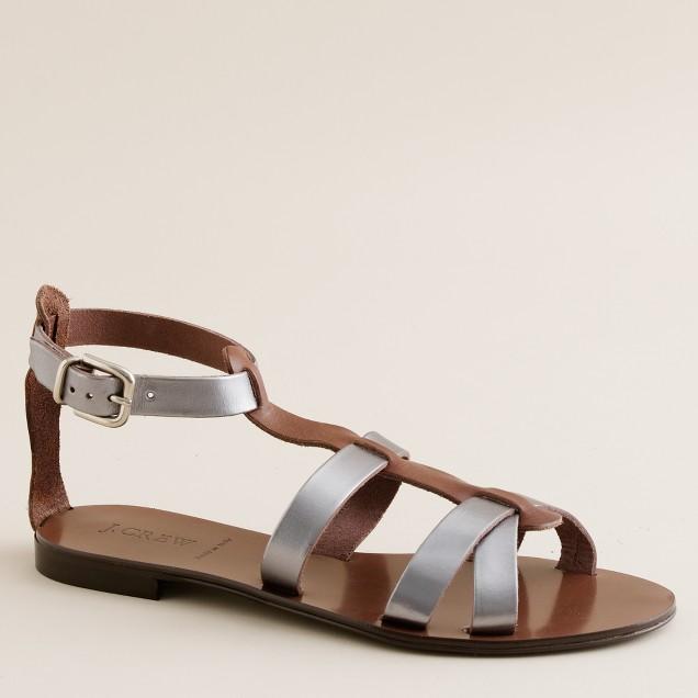 Cyprus vachetta-and-metallic gladiator sandals
