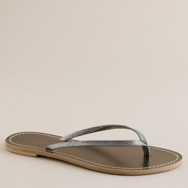 Shimmerveil leather capri sandals