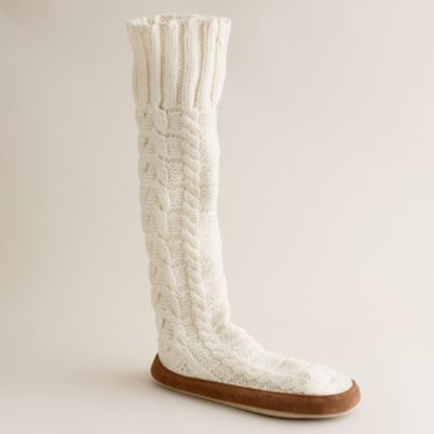 Wool cable knit slipper socks j crew