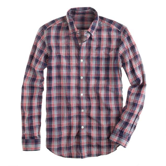 Lightweight chambray shirt in bright indigo plaid