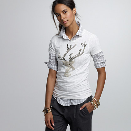 Slub cotton beaded-reindeer tee