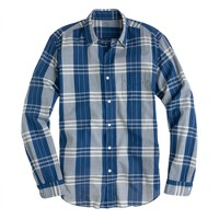 Lightweight chambray shirt in veranda blue plaid