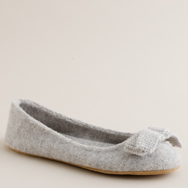 Metallic wool ballet slippers