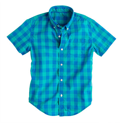 Boys' Secret Wash short-sleeve shirt in pacific turquoise oversize gingham