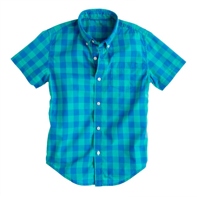 Boys' Secret Wash short-sleeve shirt in pacific turquoise oversize gingham