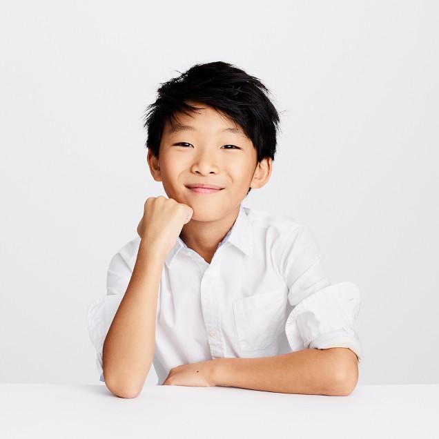 Kids' Secret Wash shirt in cotton poplin