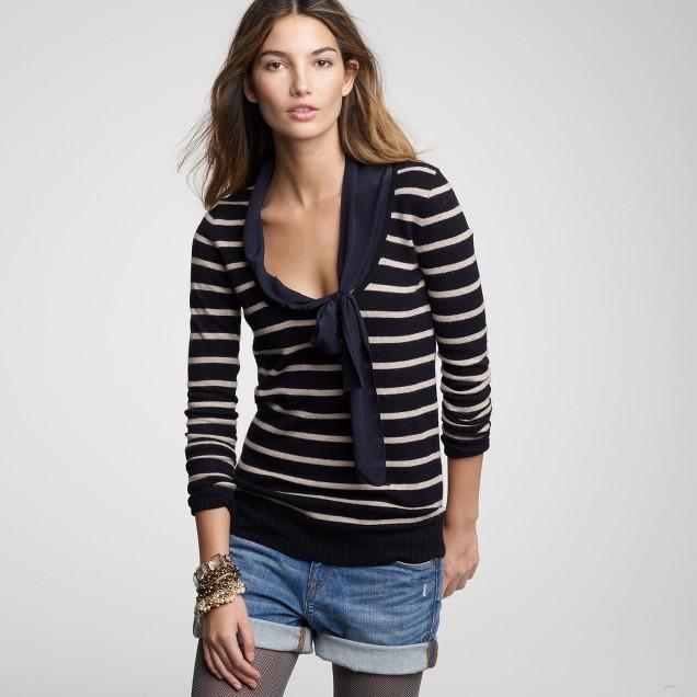 Stripe asymmetrical chiffon bow pullover
