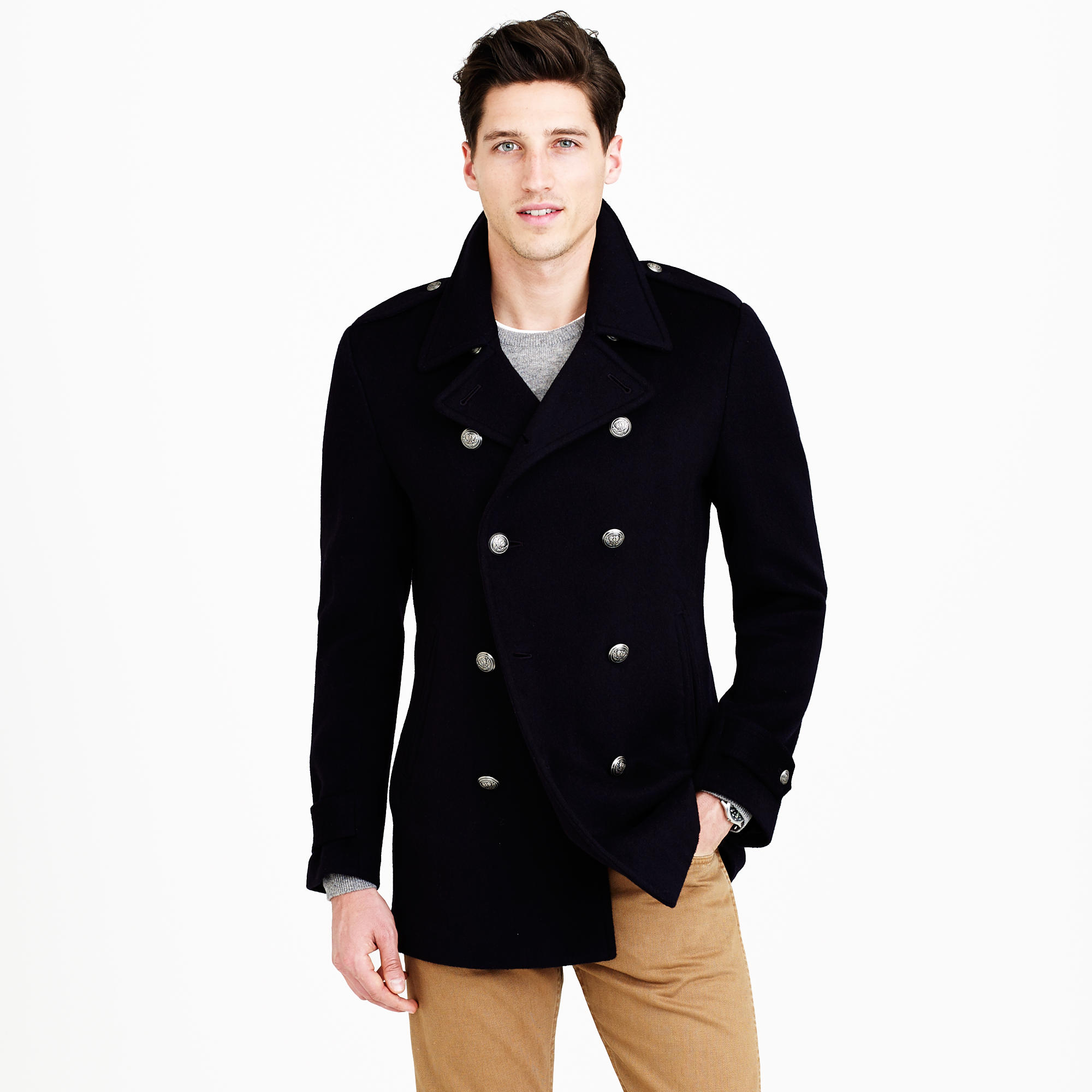 Regent Italian Cashmere Peacoat With Belted Back : Men's Coats ...