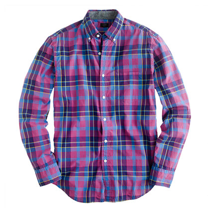 Slim tartan shirt in vintage barn and blue