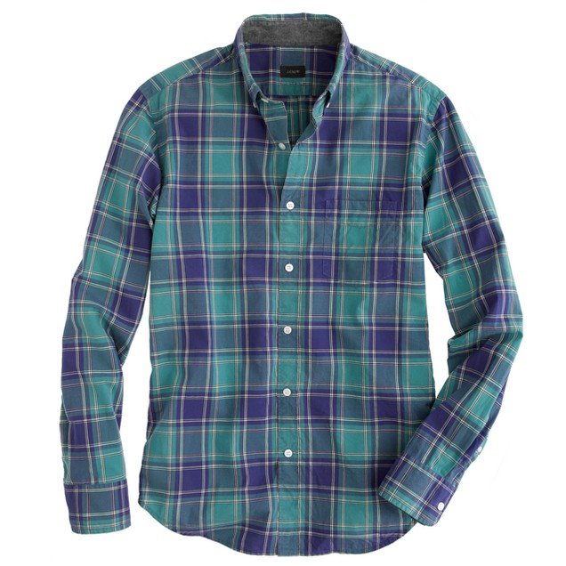 Tartan shirt in verdigris