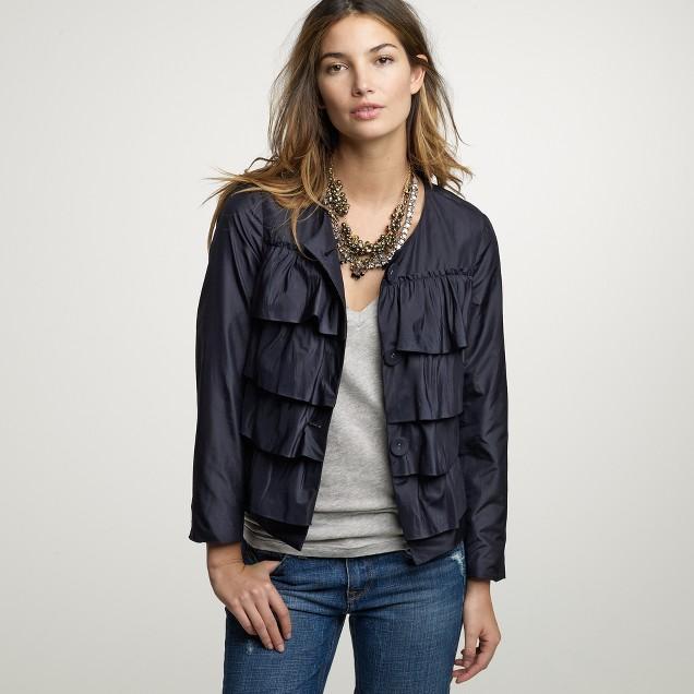 Silk ruffle cascade jacket
