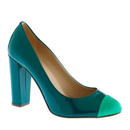 Etta cap toe patent pumps