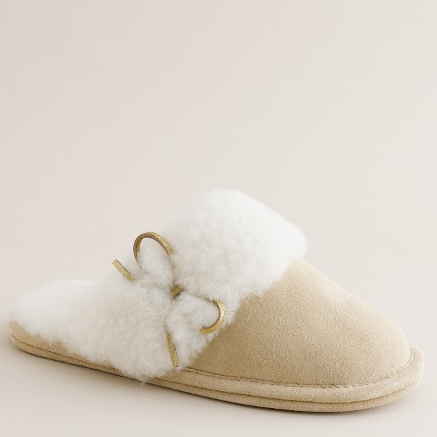 Shearling scuffs with metallic bow