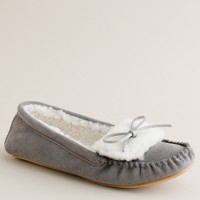 Shearling mocs with metallic bow