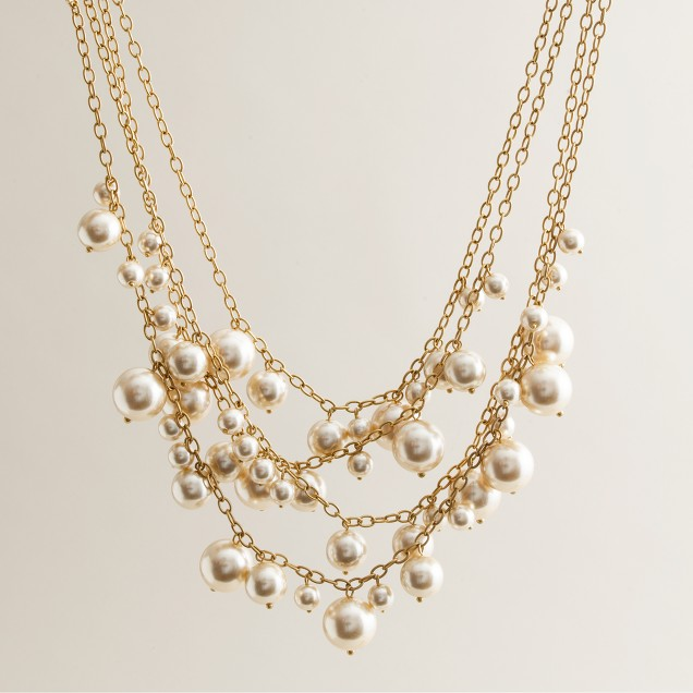 Ombré pearl cluster necklace