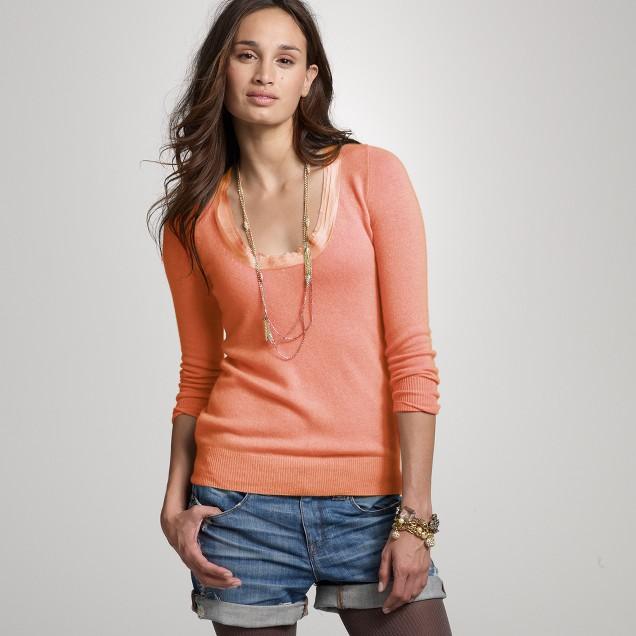Cashmere scoopneck tiered trim sweater