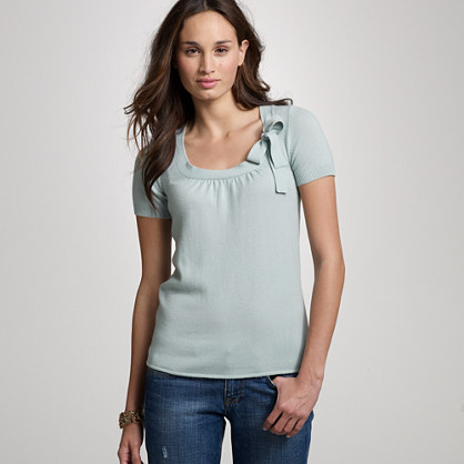 Cashmere short-sleeve scoopneck sweater