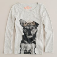 Girls' long-sleeve dog tiara tee