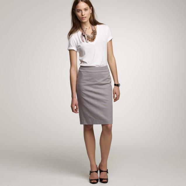 Crosshatch cotton pencil skirt