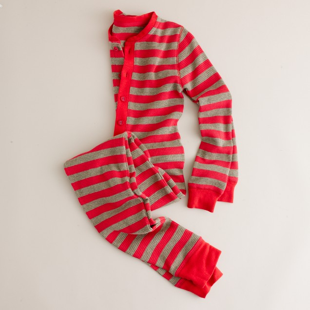 Kids' stripe waffle union suit