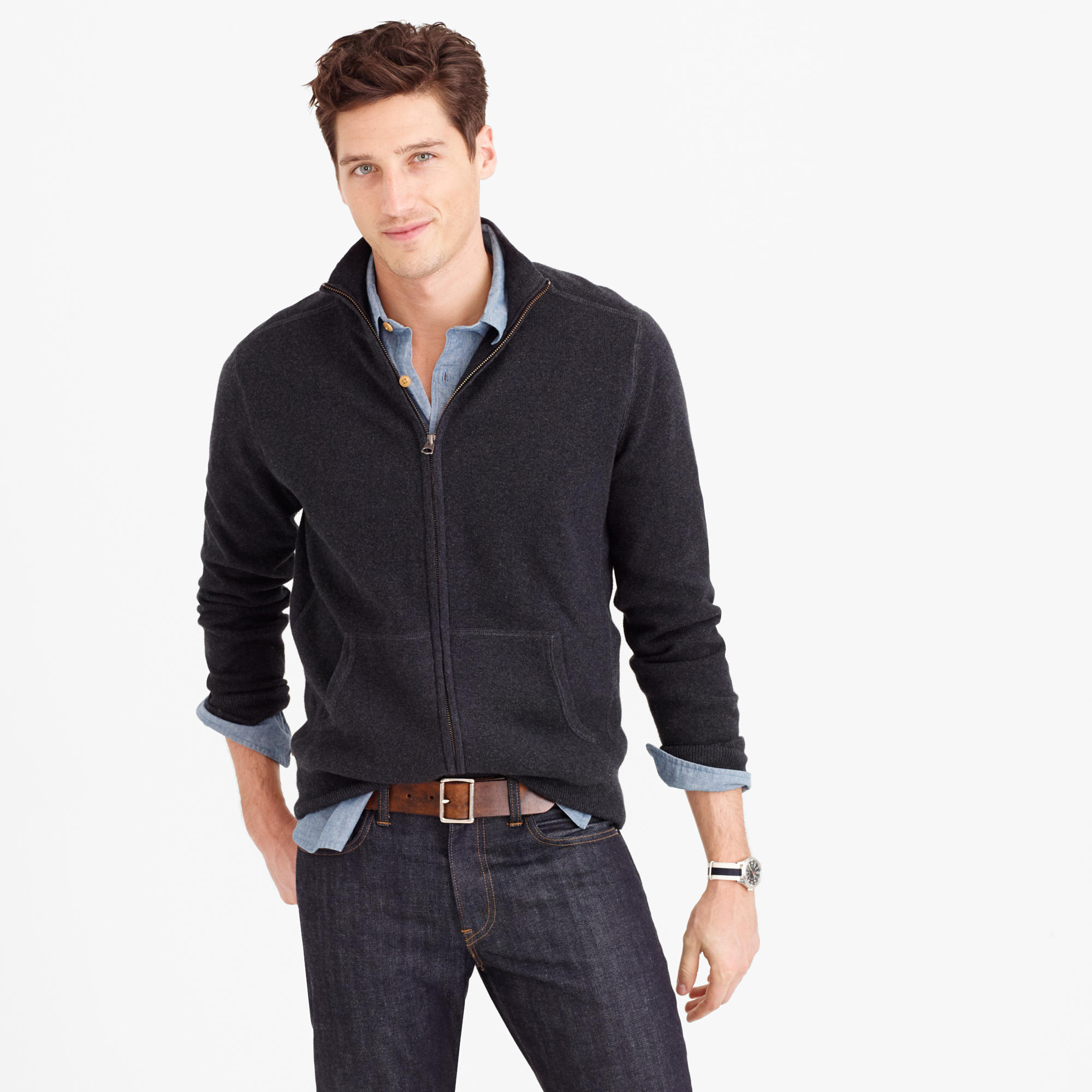 Cotton-Cashmere Zip Sweater-Jacket : Men&39s Sweaters | J.Crew