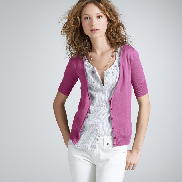 Featherweight cashmere rolled-sleeve cardigan
