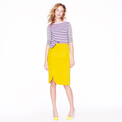 Collection pencil skirt in brushed wool