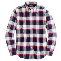 Oxford plaid shirt in bright garnet