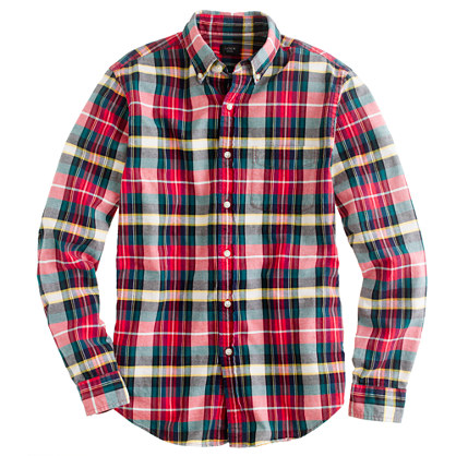 Slim oxford plaid shirt in holiday red