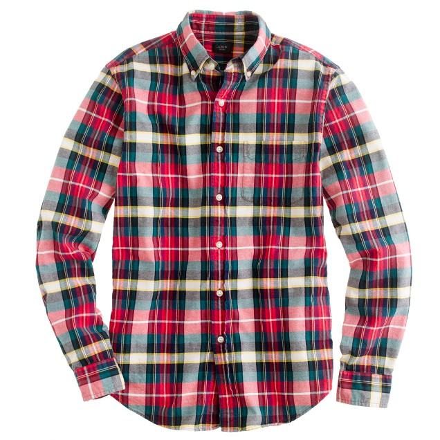Oxford plaid shirt in holiday red