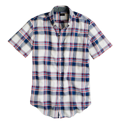 Indian cotton short-sleeve shirt in deep cove plaid