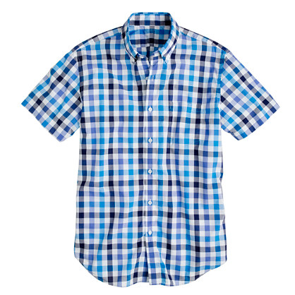 Secret Wash short-sleeve shirt in neon azure check