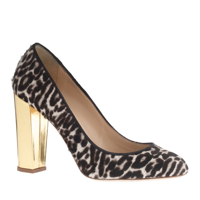 Collection Etta gold-heel calf hair pumps