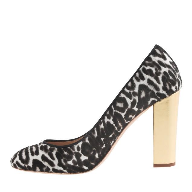 Collection Etta gold-heel calf hair pumps