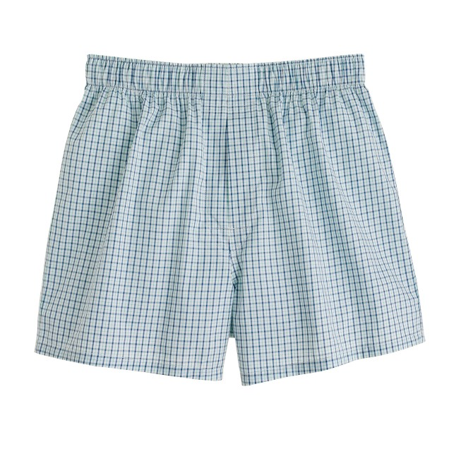 Tattersall boxers in pacific turquoise