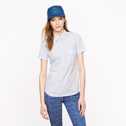 Short-sleeve popover in oxford dot