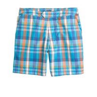 "7"" plaid board shorts in turquoise blue"